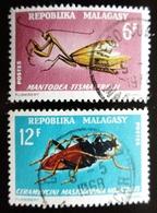 1966 MADAGASCAR YT 427, 428 . Mantis / Long-horned Beetle / Insectes . Oblitération DIEGO SUAREZ - Madagascar (1960-...)