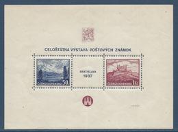 Tchécoslovaquie - YT Bloc N° 3 - Neuf Avec Charnière, Cassure - 1937 - Blocks & Sheetlets