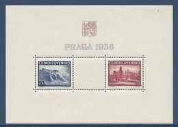 Tchécoslovaquie - YT Bloc N° 6 - Neuf Sans Charnière Avec Adhérence - 1938 - Blocks & Sheetlets