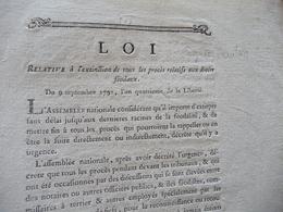 Loi L'extinction Procès Relatifs  Droits Féodaux Révolution 09/09/1792 + Copie Manuscrite Rapport Convention 01/10/1792 - Décrets & Lois