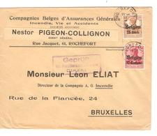 SJ101/ TP Oc 3-15 S/L.Entête Nestor Pigeon-Collignon Assurances Rochefort C.Rochefort 1916 Censure Dinant V.BXL - [OC1/25] General Gov.