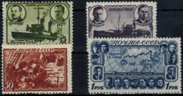 Sowjetunion CCCP 741-744 Polardrift Des Eisbrechers Georgij Sedow 1940 *-** - Russia & USSR