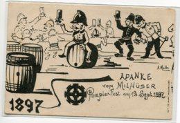 68 MULHOUSE Carte RARE 1897 Fete Des Pompiers Pompier Fest Am 12  Sept 1897  A Danke Vom Milhuser  Illust MullerD05 2019 - Mulhouse