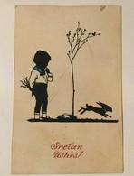 AK  SILHOUETTE   EASTER  OSTERN  1922 - Scherenschnitt - Silhouette
