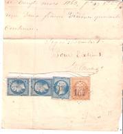 10C.+ 20c.x3 Empire Dentelé Servant De Timbres Fiscaux Sur Reçu Oblitéré G.C.154 - Postmark Collection (Covers)