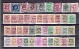 P . Set Belgium Préos - All Different - Préos Typo Belge Tous Différents - Tipo 1936-51 (Sigillo Piccolo)
