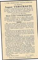 Vladslo, St-Catharina-Conterdam, 1938, August Verstraete, Vancraeynest - Devotieprenten
