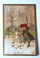 CHROMO... BORDS DORES.....MOIS DE L'ANNÉE..NOVEMBRE....ENFANTS QUI NOURRISSENT LES PETITS OISEAUX - Vieux Papiers