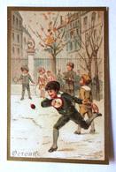 CHROMO... BORDS DORES.....MOIS DE L'ANNÉE...OCTOBRE....ENFANTS QUI JOUENT DANS LA COUR DE RÉCRÉATION - Vieux Papiers