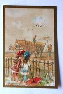 CHROMO... BORDS DORES.....MOIS DE L'ANNÉE...SEPTEMBRE....LA MOISSON - Vieux Papiers