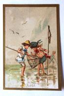 CHROMO... BORDS DORES.....MOIS DE L'ANNÉE...AOÛT....ENFANTS QUI PÊCHENT SUR LA PLAGE - Vieux Papiers