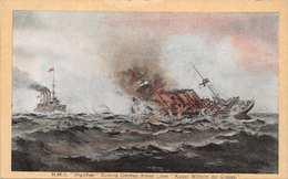 HMS HIGHFLYER SINKING GERMAN ARMED LINER KAISER WILHELM Der GROSSE-ABRAHAMS GREAT NAVAL DEEDS SERIES POSTCARD 40006 E - Paquebots