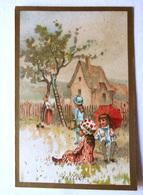 CHROMO... BORDS DORES.....MOIS DE L'ANNÉE...JUILLET....LA CUEILLETTE DES FRUITS....PARASOL - Vieux Papiers