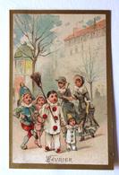 CHROMO... BORDS DORES.....MOIS DE L'ANNÉE...FÉVRIER...DÉGUISEMENT POUR LE CARNAVAL - Vieux Papiers