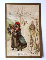CHROMO... BORDS DORES.....MOIS DE L'ANNÉE..JANVIER..PROMENADE ET GLISSADES DANS LA NEIGE - Vieux Papiers