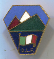 Alpinism, Mountaineering, Climbing - DLF, Italy, Enamel, Vintage Pin, Badge, Abzeichen - Alpinism, Mountaineering
