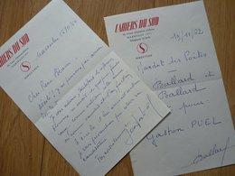Jean BALLARD (1893-1973) Poète. Marseille [ Pagnol ] CAHIERS DU SUD. 2 X Autographe à Pierre Béarn - Autografi