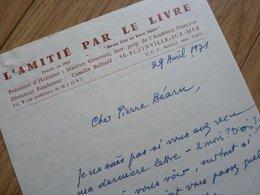 Camille BELLIARD (1899-1987) Ecrivain & Philosophe. [ Tatihou - Blainville Sur Mer ] AUTOGRAPHE à Pierre Béarn - Autographes