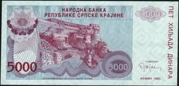 CROATIA - 5.000 Dinara 1993 {Knin} UNC P. R20 - Kroatië