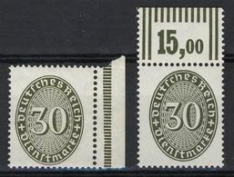 120P+W Strohhut 30 Pf. - 2 Marken: Platte+Walze, Set ** - Dienstpost
