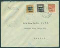 Brazil - XX. 1929 (13 March). RG Sul - Santos (15 March). Air Fkd Env Ovptd. VF. - Brazil
