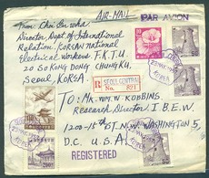 KOREA. 1957 (23 May). Seoul - USA / Washington (21 May). Reg Air Multifkd Env 2 Days Delivery Service. V Nice Cond. - Corea (...-1945)