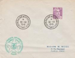 OBLIT. TEMPORAIRE PARIS 10/48 EXPO. PHILAT. ESPÉRANTISTE - Postmark Collection (Covers)