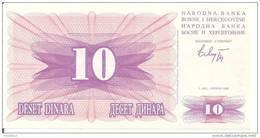 BOSNIE HERZEGOVINE 10 DINARA 1992 UNC P 10 - Bosnie-Herzegovine
