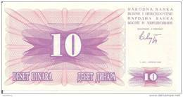 BOSNIE HERZEGOVINE 10 DINARA 1992 UNC P 10 - Bosnia And Herzegovina