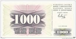 BOSNIE-HERZEGOVINE 1000 DINARA 1992 UNC P 15 - Bosnie-Herzegovine