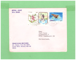 1993 INDIA SEA MAIL COUVERT WITH 3 STAMPS TO SWISS - India