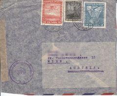 BM162 Envelope Air Mail Chile - Austria, 3-fach-Frankatur 1958, Poststempel Santiago 1948 - Chili