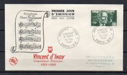 FR1283 - FDC - 1951 - Vincent D'Indy - Paris - 75 € - FDC