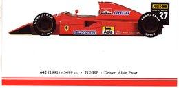 Ferrari F1/Grand Prix Cars  -  FERRARI 642 - 1991 - Pilote: Alain Prost   -  Carte Postale - Grand Prix / F1
