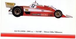 Ferrari F1/Grand Prix Cars  -  FERRARI 312 T3  - 1978 - Pilote: Gilles Villeneuve   -  Carte Postale - Grand Prix / F1