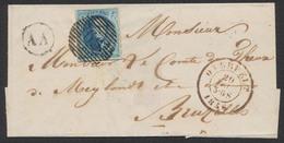 """Médaillon - N°7 Margé Sur LSC Obl P69 çàd Overpelt 20/5/56 (Luxe) + Boite Rurale """"AA"""" (Achel) Vers Bruxelles. Superbe - 1851-1857 Médaillons (6/8)"""
