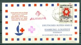 SERVICE SPECIAL AIDE POUR SKOPJE - ALITALIA - HAMBOURG - LOKSTEDT - ROTES KREUZ - Marcophilie (Lettres)