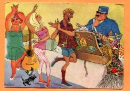FR392, Aéroport, Douane, Valise, Guitare, Mode, Chien, Fête, Illustrateur Granena, 304, Spanistyp, GF, Circulée 1963 - Humour
