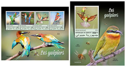 DJIBOUTI 2019 - Bee-eaters, Bees, M/S + S/S. Official Issue - Insecten