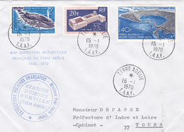 TIMBRE DE COLLECTION TAAF N° 25, 35 + PA N° 17 , Grande Baleine Bleue, O.I.T, Ile Saint Paul @ 1ER JOUR Sur ENVELOPPE - Lettres & Documents