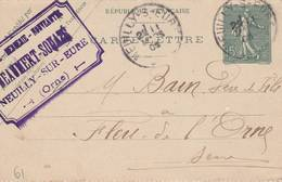"""Neuilly Sur Eure  (61)  - Cachet Magasin"""" BEAUMERT SOUAZE"""" - Sur Carte Lettre 1903  -  Scan Recto-verso - Postal Stamped Stationery"""