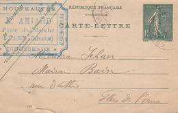 """Vassy (14)  - Cachet Magasin"""" E. AMIARD """" - Sur Carte Lettre 1903  -  Scan Recto-verso - Postal Stamped Stationery"""