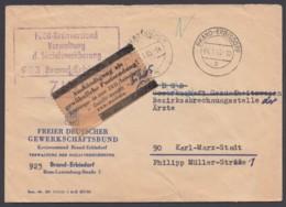 """Gelber Zettel """"Aushändigung Als Gew. Postsendung"""", Bedarf """"Brand-Erbisdorf"""", 4.1.65 - Service"""