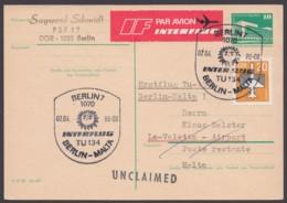 """P 84, Erstflug """"Berlin-Malta"""", 2.4.86, Mit Zusatzfrankatur - DDR"""