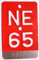 Velonummer Neuenburg NE 65 - Plaques D'immatriculation