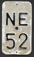 Velonummer Neuenburg NE 52 - Number Plates