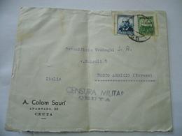 BUSTA CENSURA MILITARE CEUTA/VARESE  1937 FRANCOBOLLI MALAGA LIBERADA SOVRASTAMPATO - 1931-50 Storia Postale