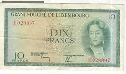 Billet 10 Francs Grand-Duché De Luxembourg  Circa 1950 - Très Bon état - Luxemburg