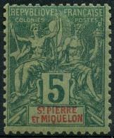 Saint Pierre Et Miquelon (1892) N 62 * (charniere) - St.Pierre Et Miquelon
