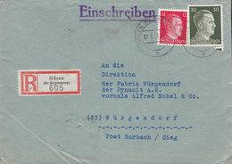 Germany Deutsches Reich Registered Einschreiben Label GÜSEN B Magdeburg 1944 Cover Brief DYNAMIT Alfred Nobel WÜRGENDORF - Germany